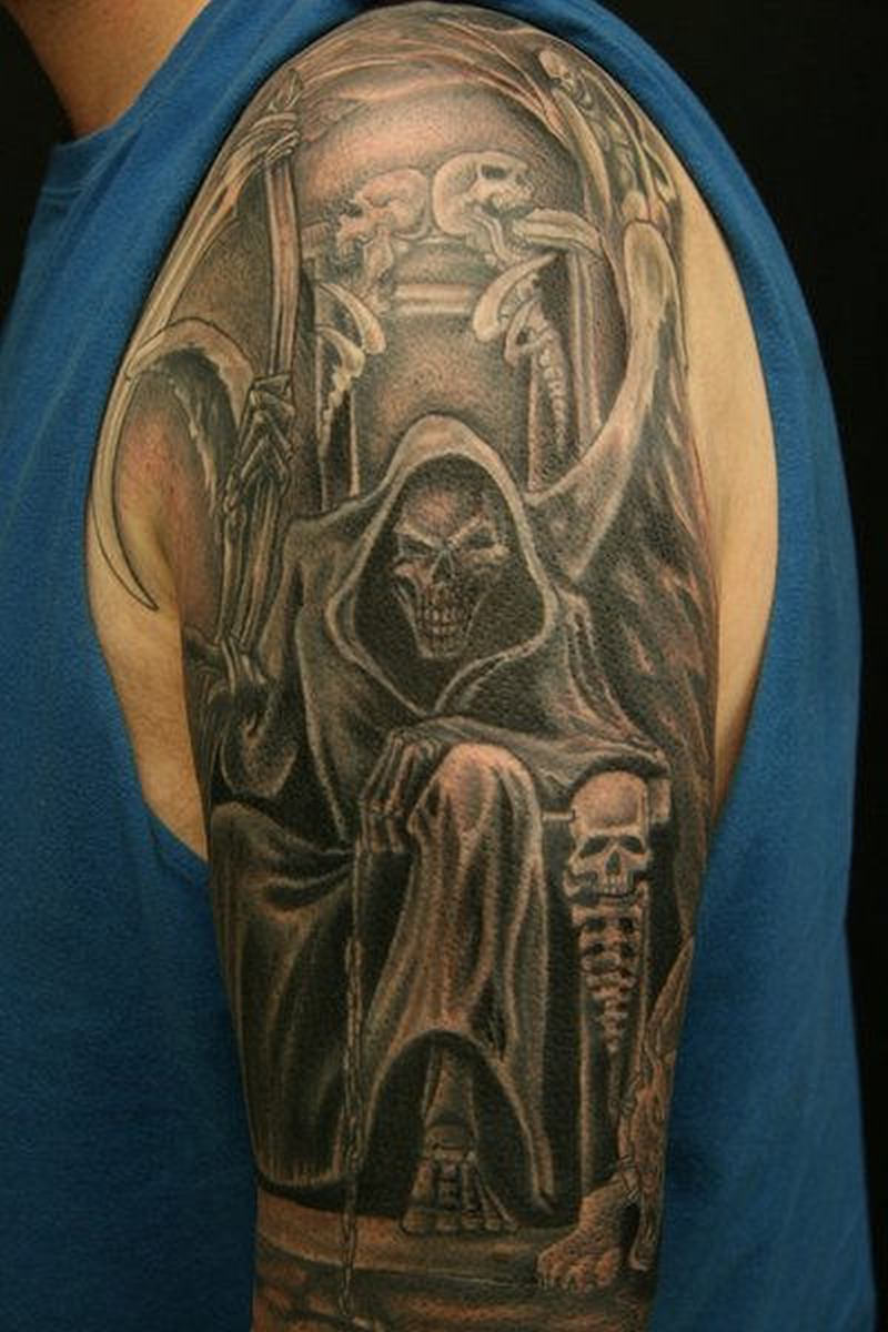 Grim reaper sleeve tattoo design