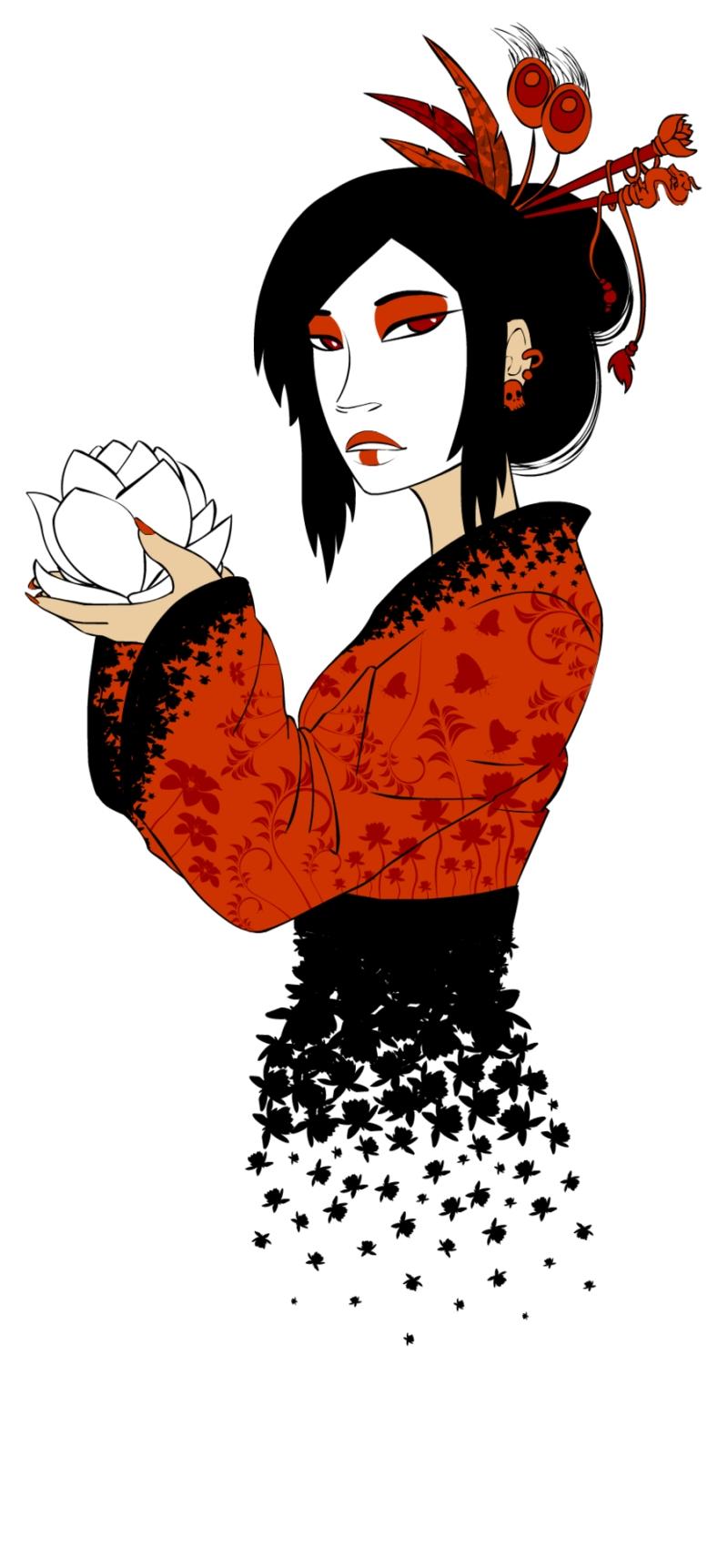 Groovy geisha tattoo design