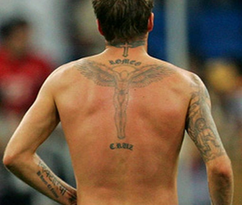 Guardian angel tattoo on david beckhams back