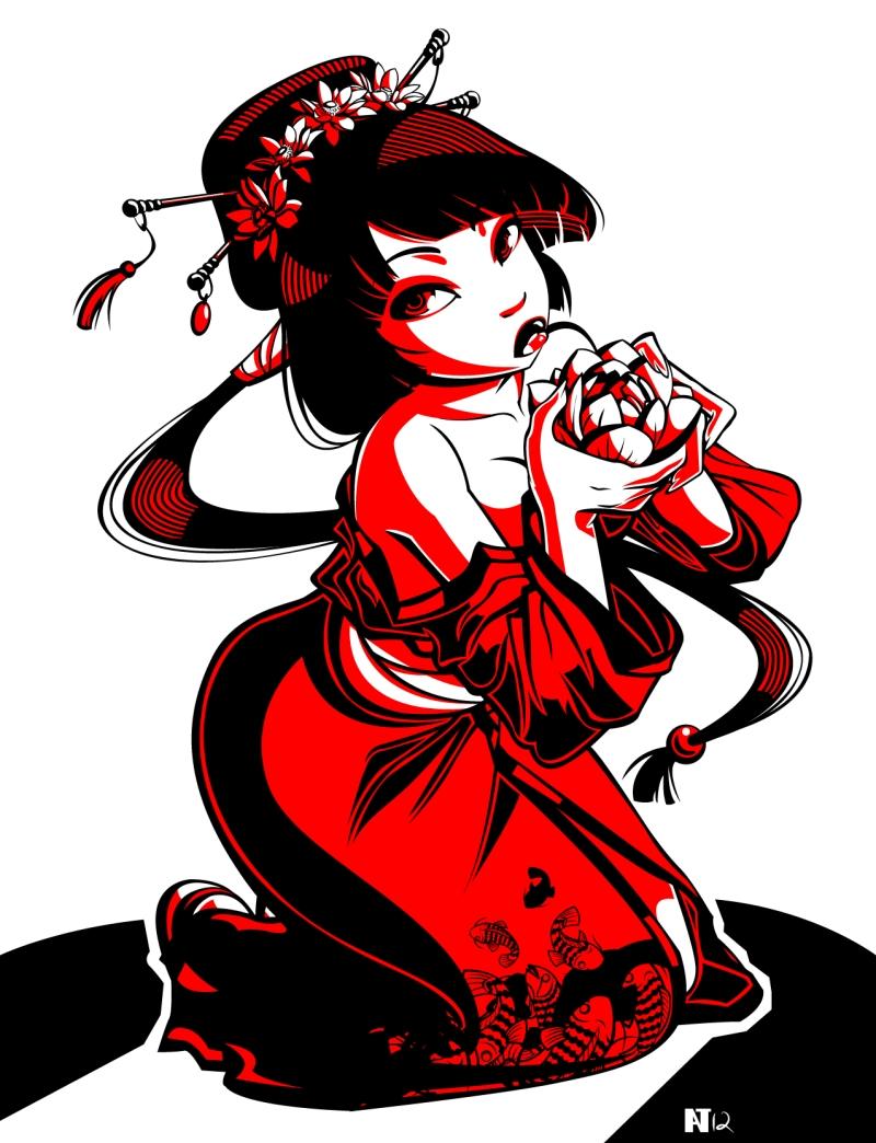 Gusana geisha tattoo stencil
