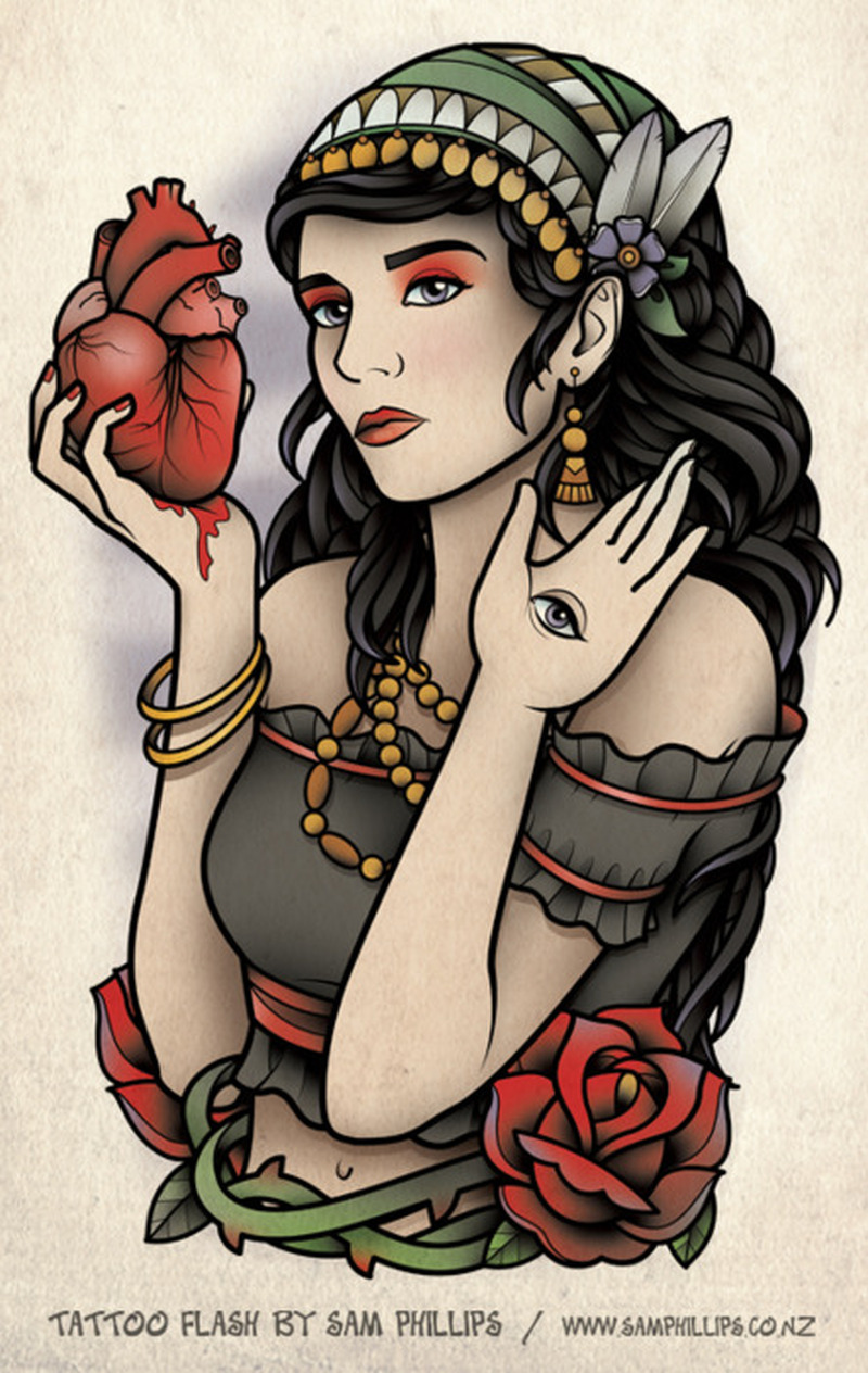 Gypsy girl with realistic heart tattoo design tattoos for Tattoo girl book