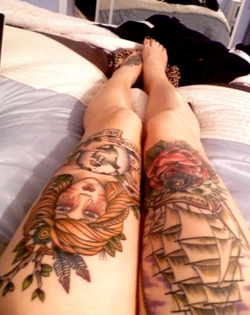 Gypsy n pirate ship tattoo on legs