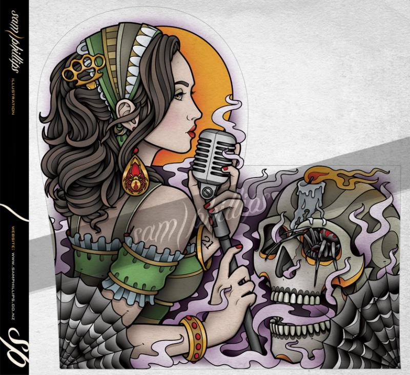 Gypsy spider skull tattoo design