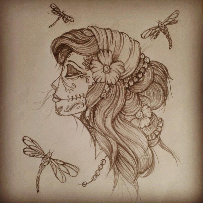 Gypsy sugar skull n dragonflies tattoo design