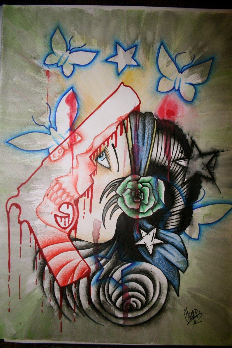 Gypsy woman and gun tattoo design