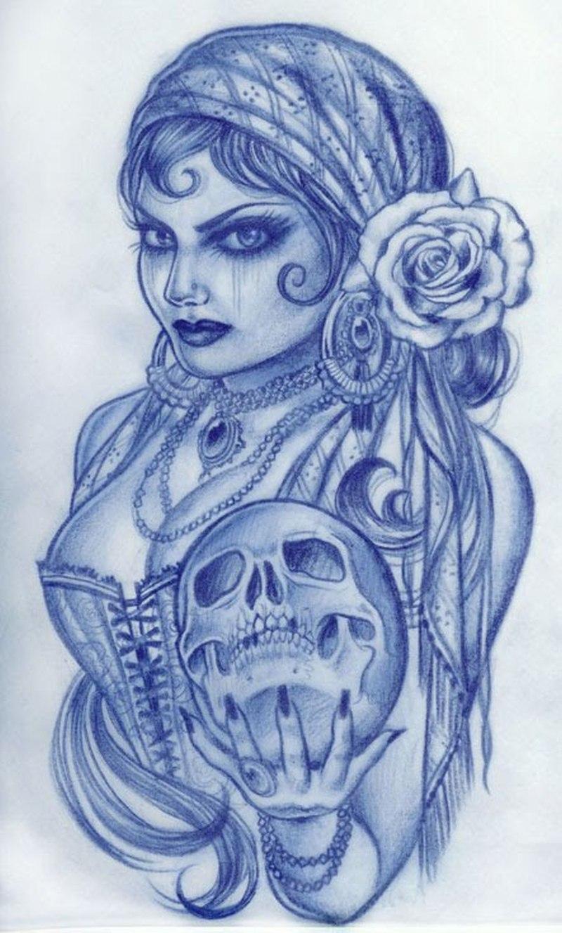 Gypsy woman holding skull tattoo design