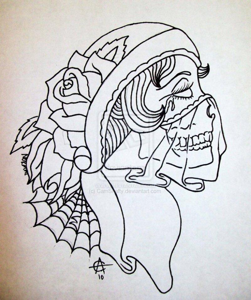 Gypsy woman sugar skull tattoo design