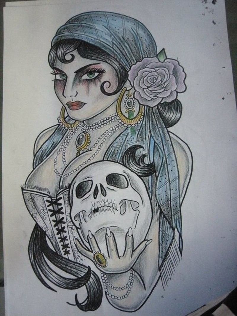 Gypsy woman with skull tattoo design