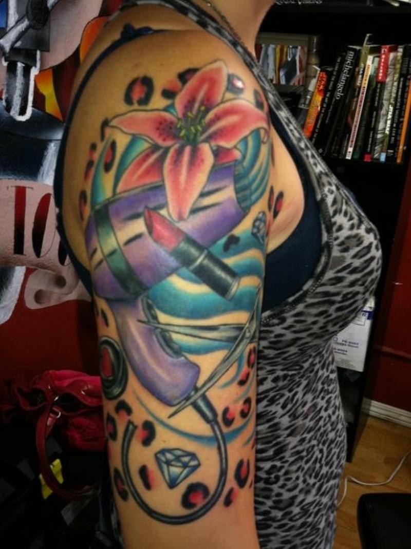 Hair stylist half sleeve tattoo design