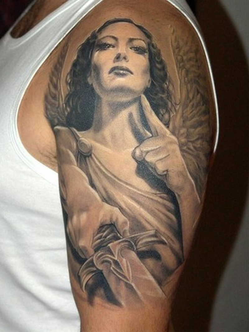 Half sleeve angel for men tattoo