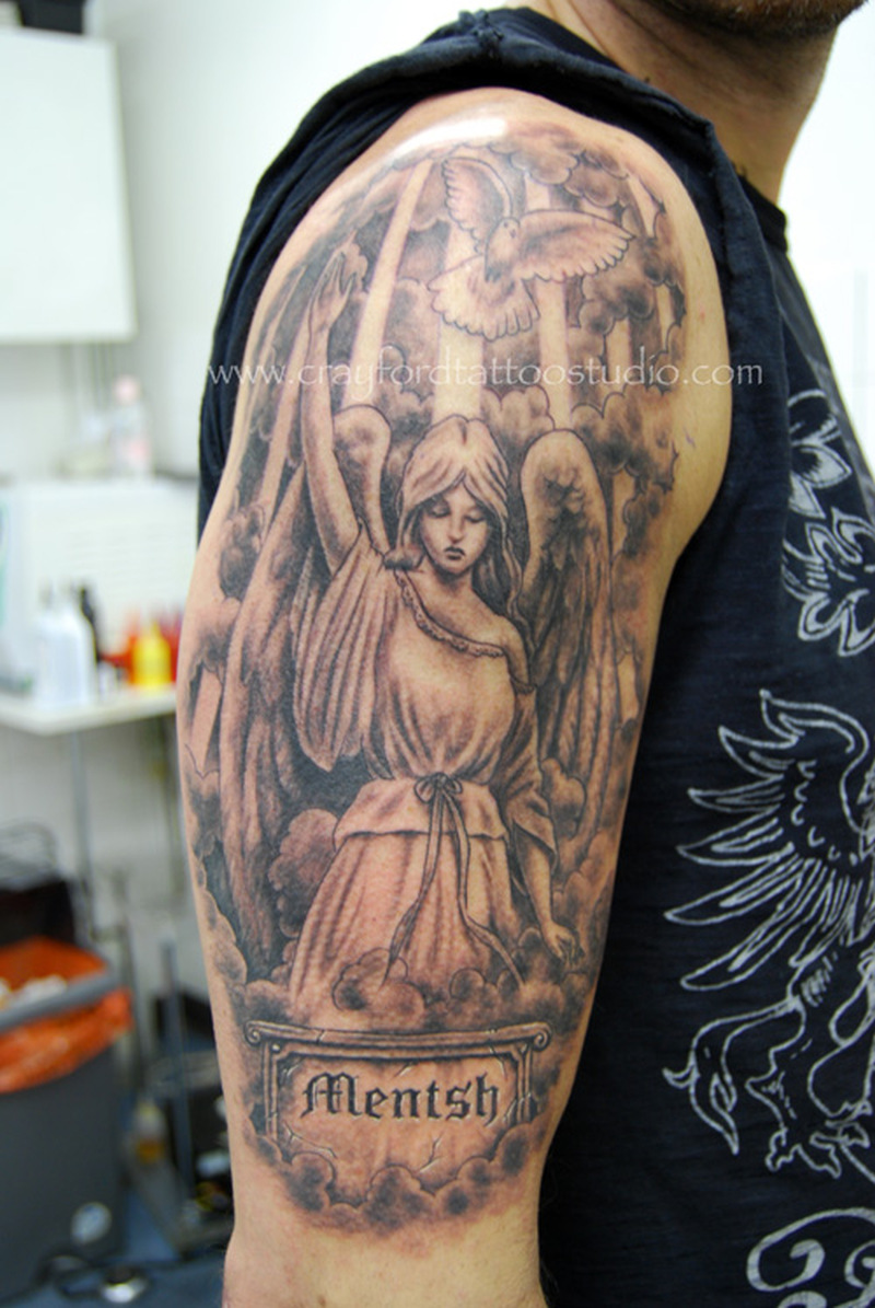 Half sleeve angel tattoo design with bird