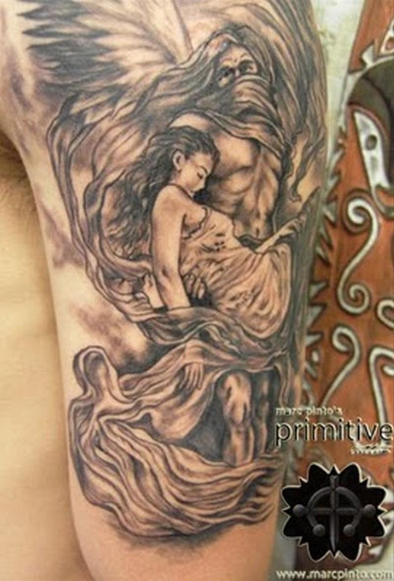 Half sleeve angel tattoo design