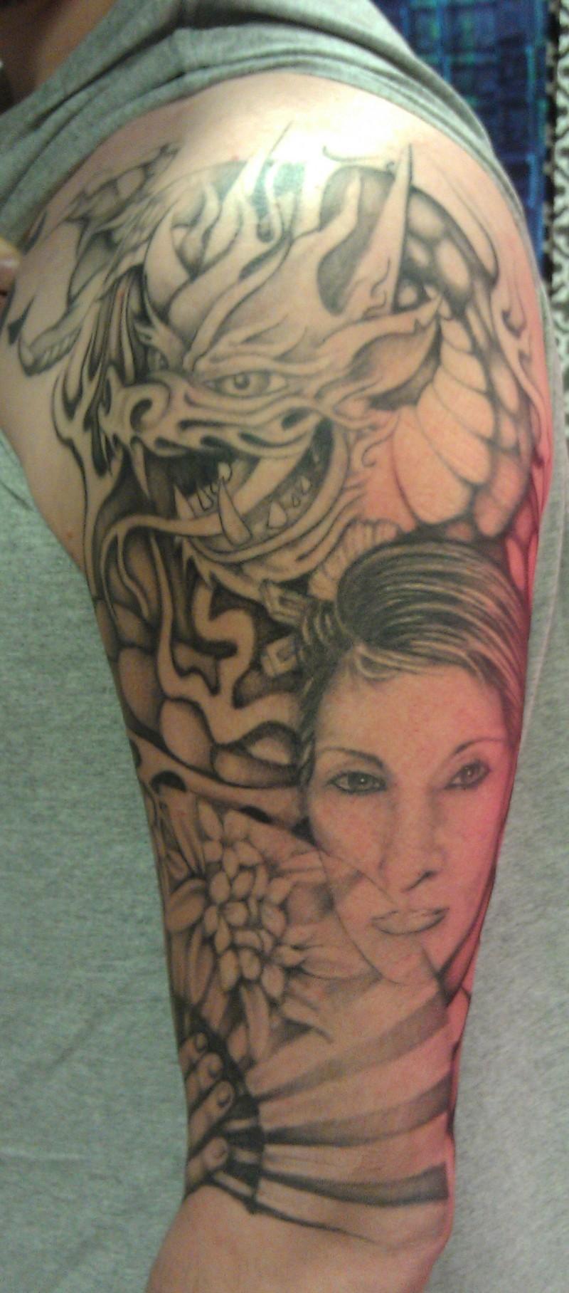 Half sleeve asian tattoo design