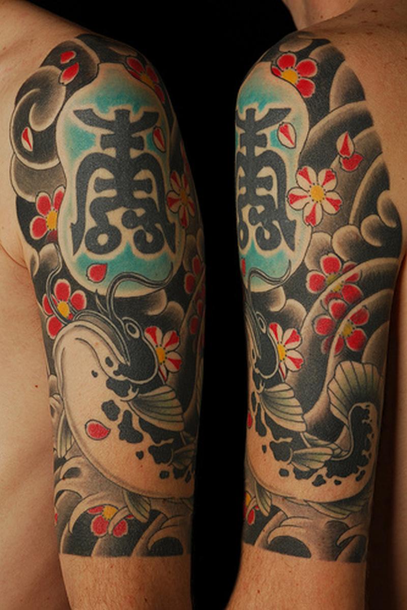 Half sleeve asian tattoo