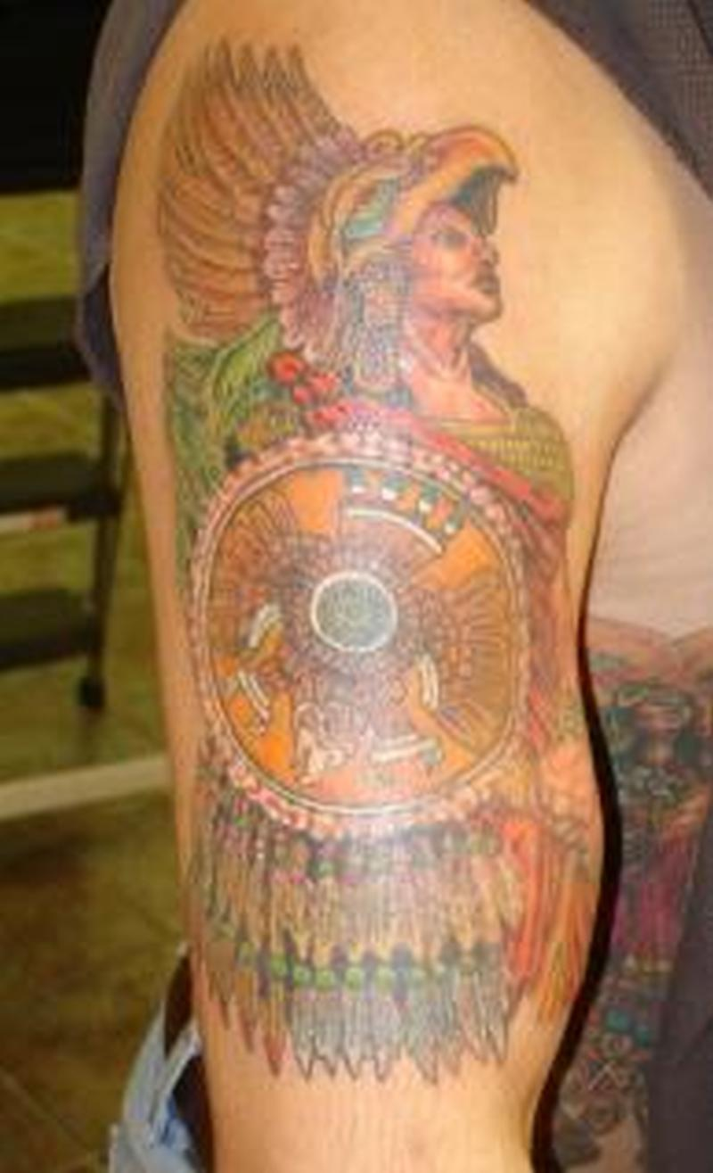 Half sleeve aztec warrior tattoo