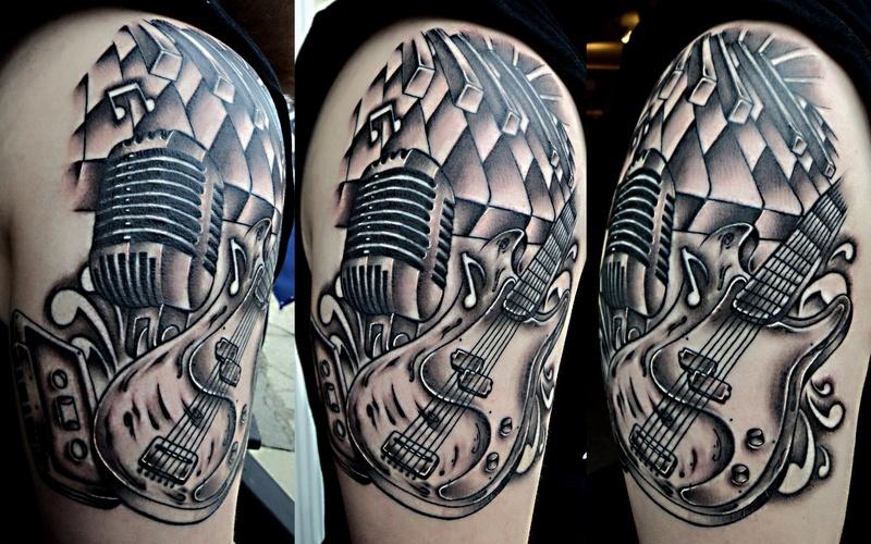 Half sleeve band guitar tattoo design