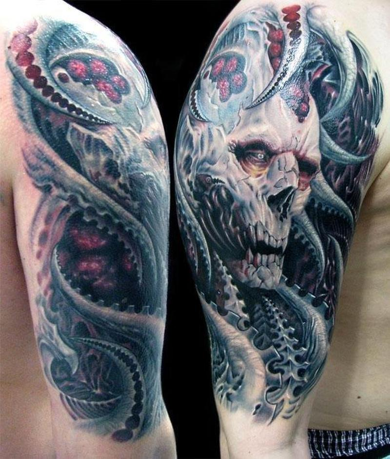 Half Sleeve Biomech Horror Tattoo Design For Men Tattoos Book 65 000 Tattoos Designs
