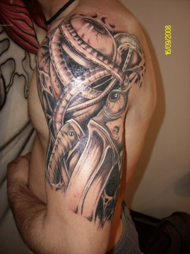 Half sleeve biomechanical 2 tattoo