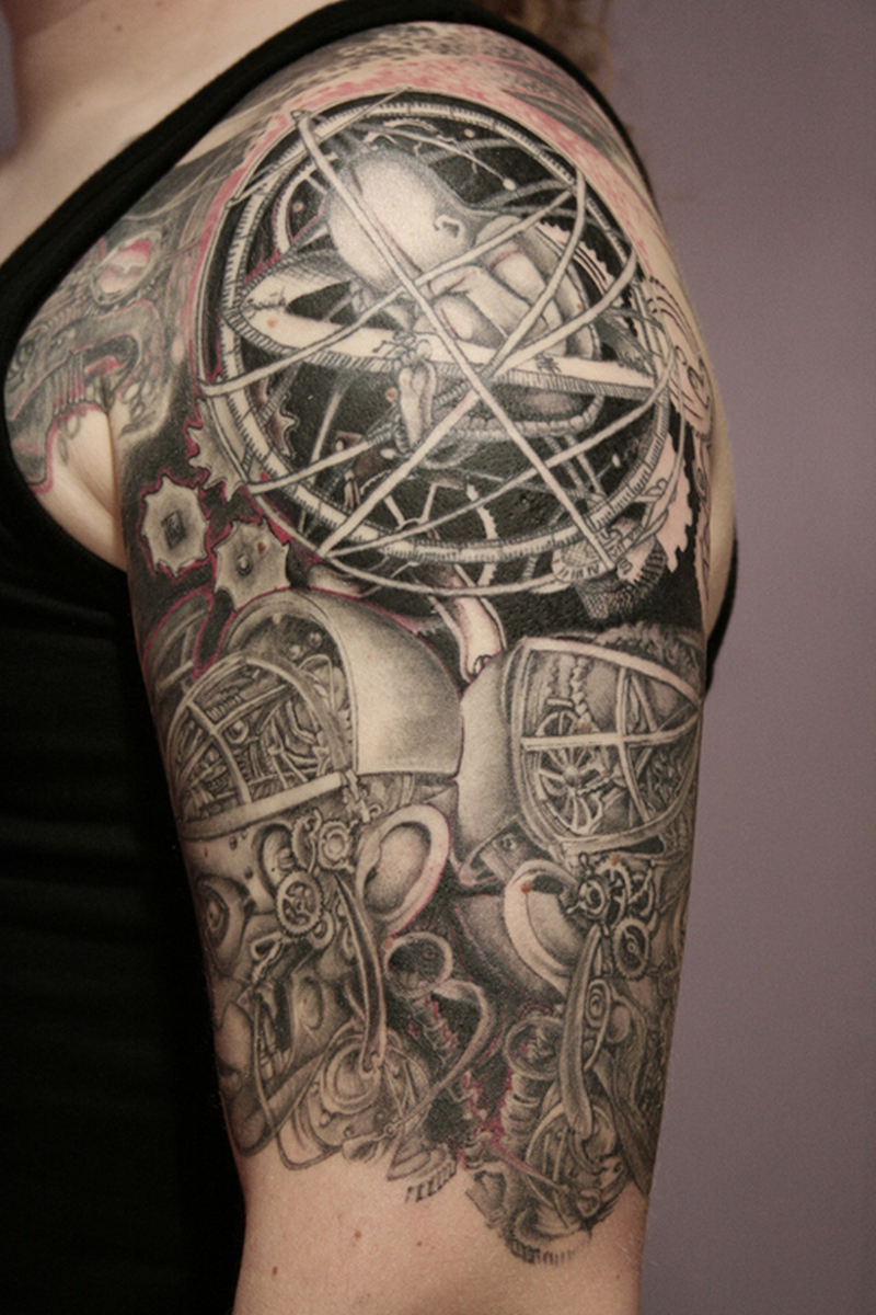 half sleeve biomechanical tattoo 3 tattoos book. Black Bedroom Furniture Sets. Home Design Ideas