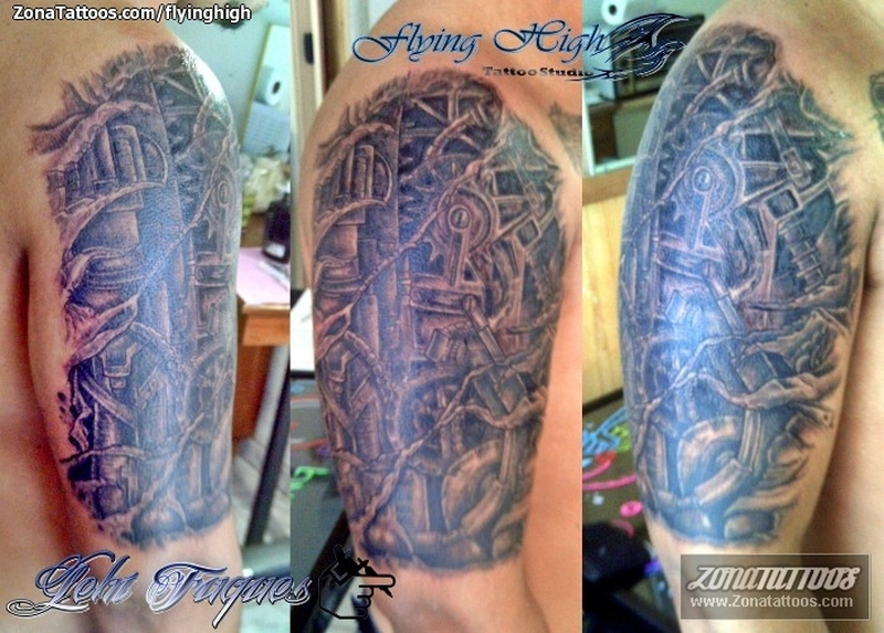 Half sleeve biomechanical tattoo designs 2