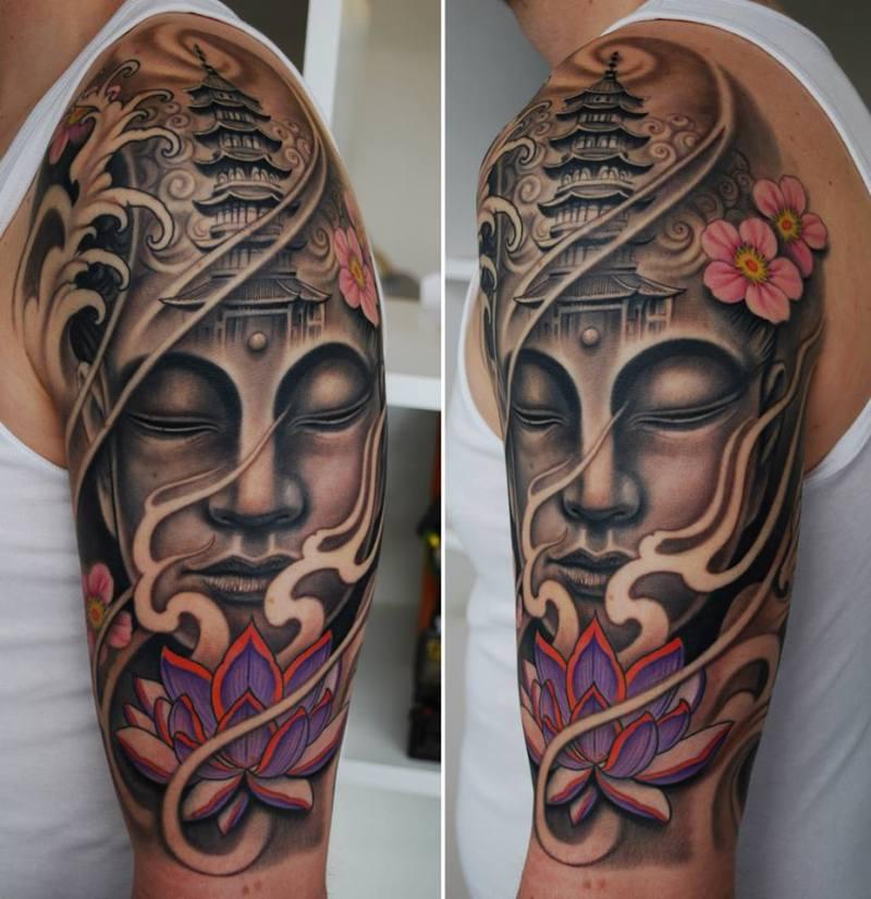 Half sleeve buddhist tattoo image