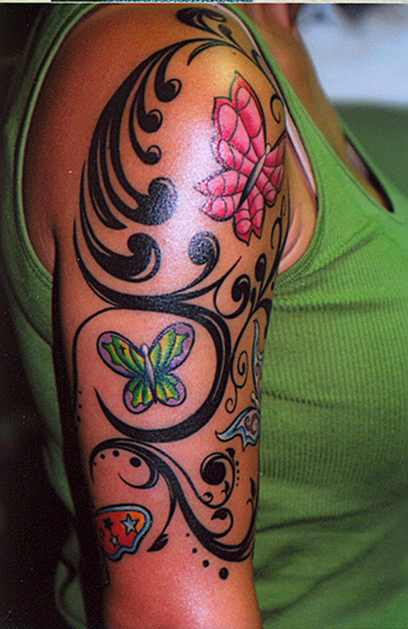 Half sleeve butterflies tattoo design