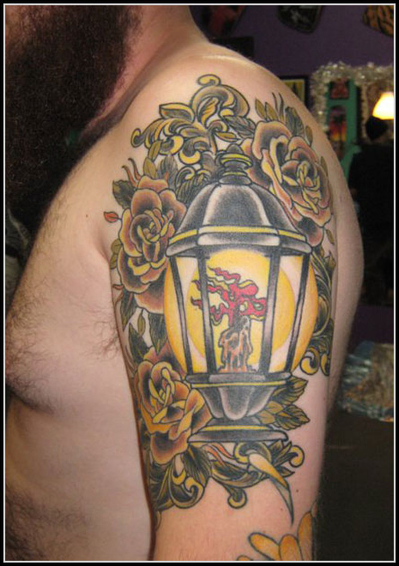 Half sleeve candle lamp tattoo for men