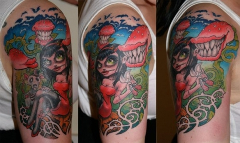 half sleeve cartoon tattoo design tattoos book tattoos designs. Black Bedroom Furniture Sets. Home Design Ideas