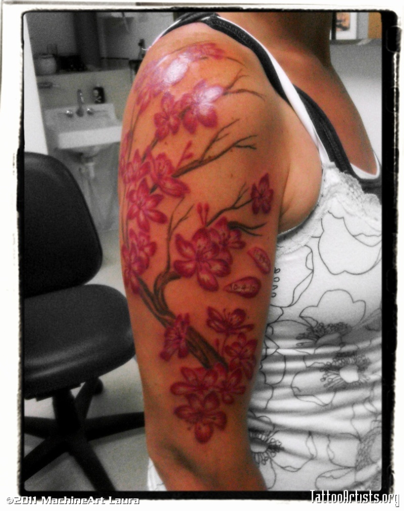 0cd245b35345e Half sleeve cherry blossom tattoo picture - Tattoos Book - 65.000 ...