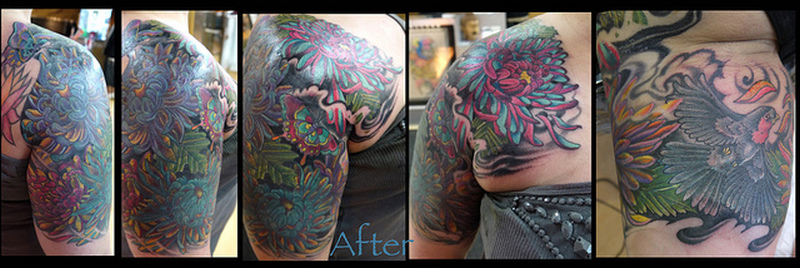 Half sleeve chrysanthemum tattoo image