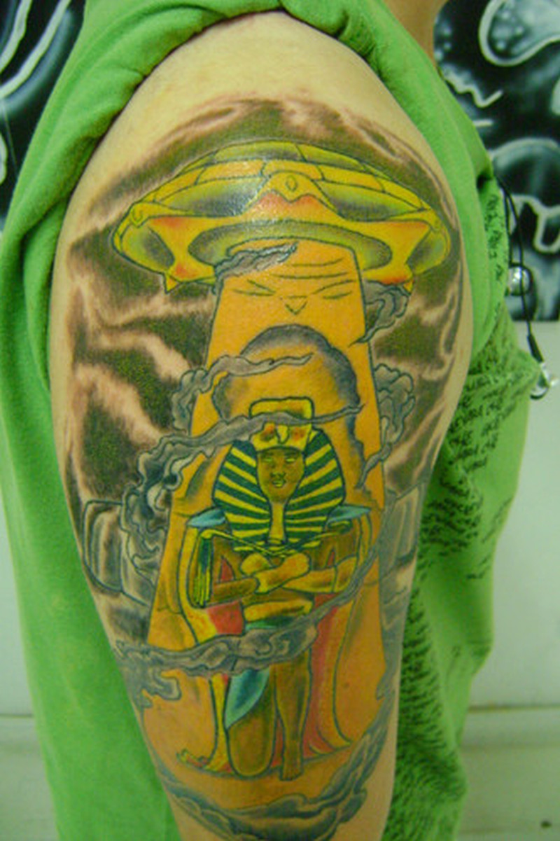 Half sleeve colorful alien and ufo tattoo