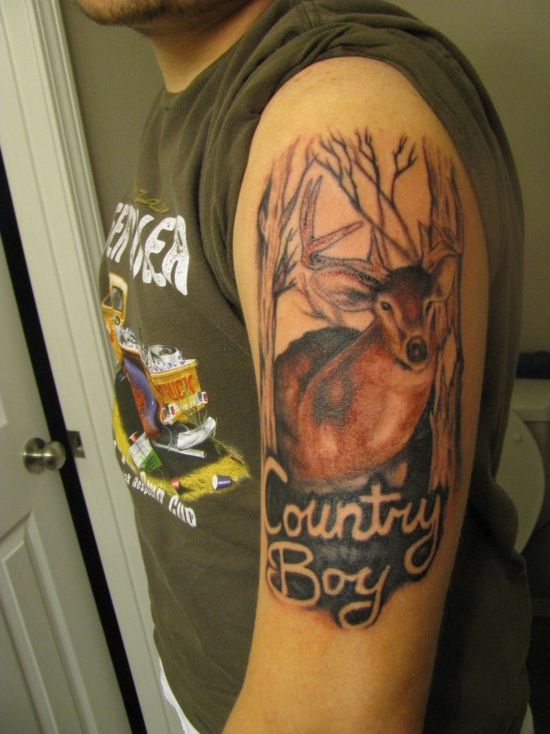 Half sleeve country boy tattoo design
