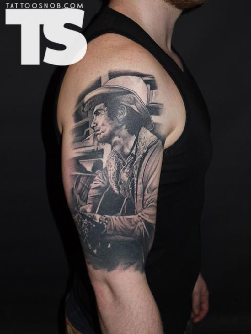 144f6979719ee Half sleeve cowboy portrait tattoo design - Tattoos Book - 65.000 ...