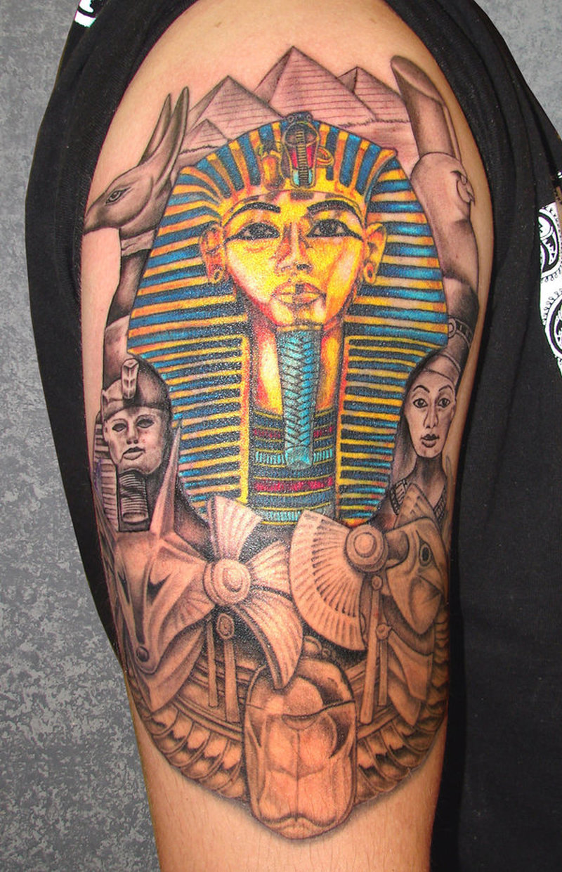 Half sleeve egyptian tattoo for guys