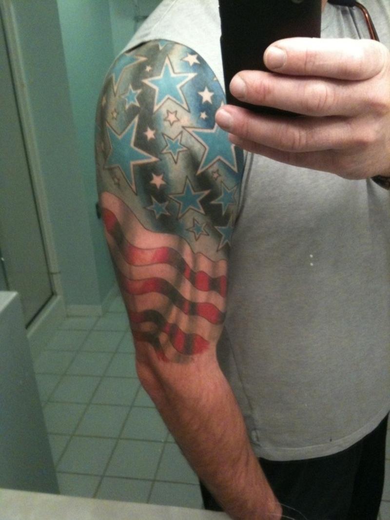 Half sleeve flag tattoo for men image