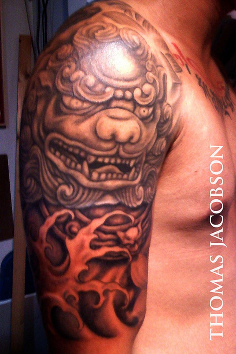 Half Sleeve Foo Dog Tattoo Design For Men Tattoos Book 65 000