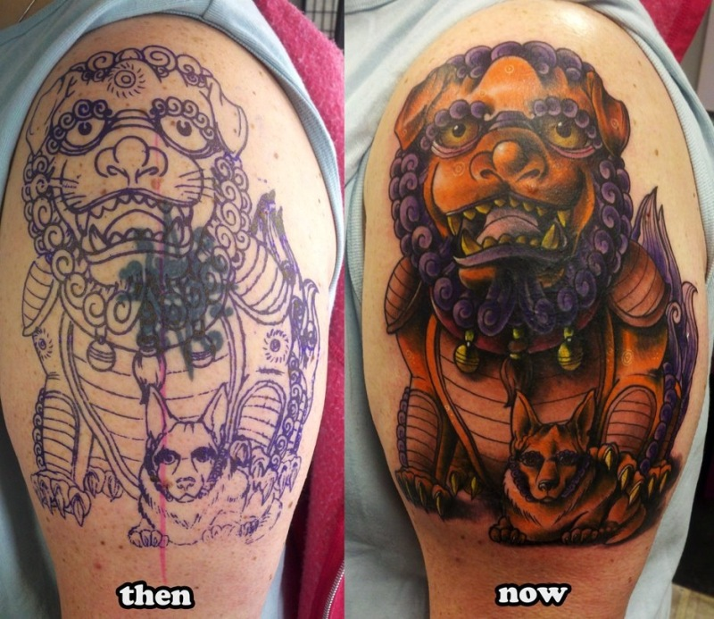 f262c59523d67 Half sleeve foo dog tattoo design - Tattoos Book - 65.000 Tattoos ...