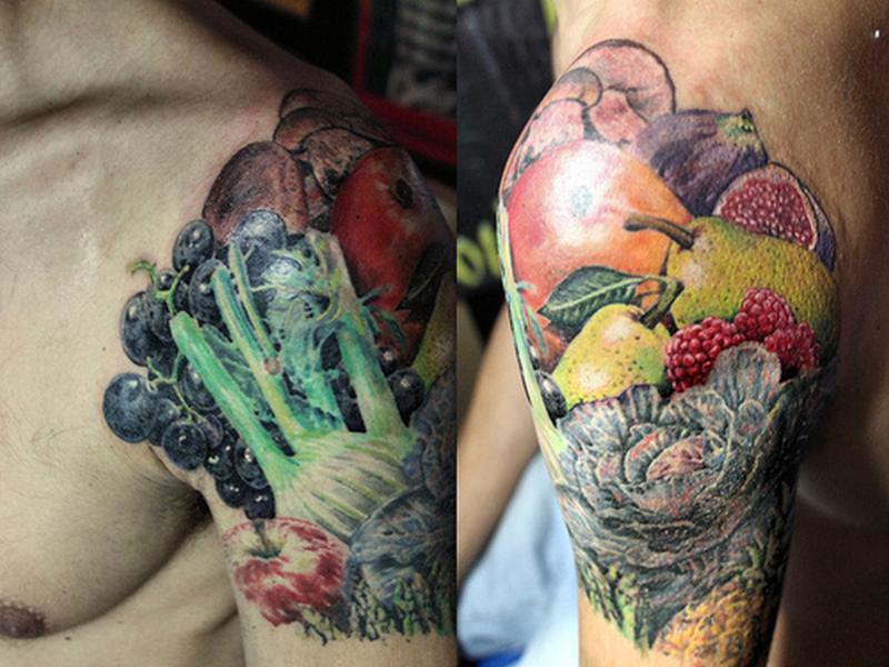 Half sleeve fruit tattoo design for men
