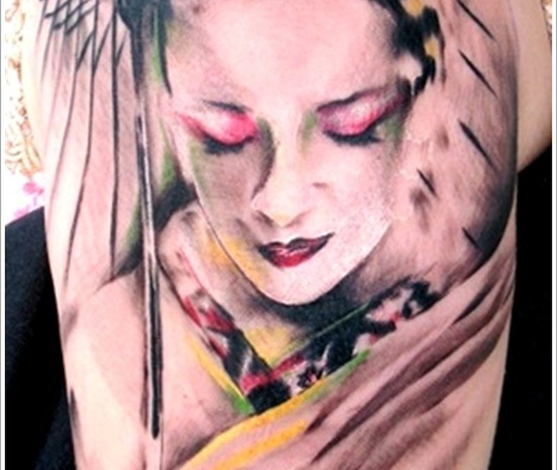 Half sleeve geisha tattoo design 2