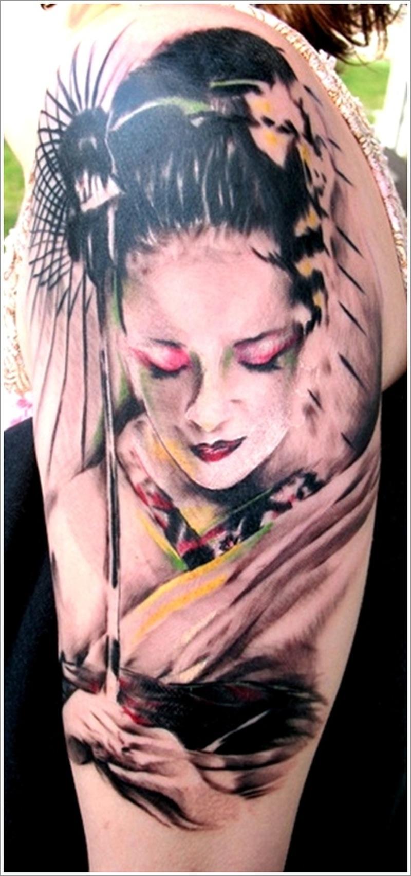Half sleeve geisha tattoo design 2