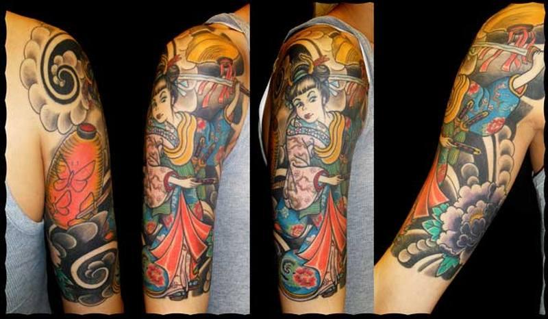 Half sleeve geisha tattoo design
