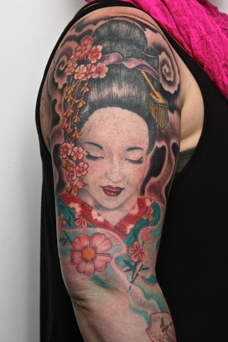 Half sleeve geisha tattoo image 2