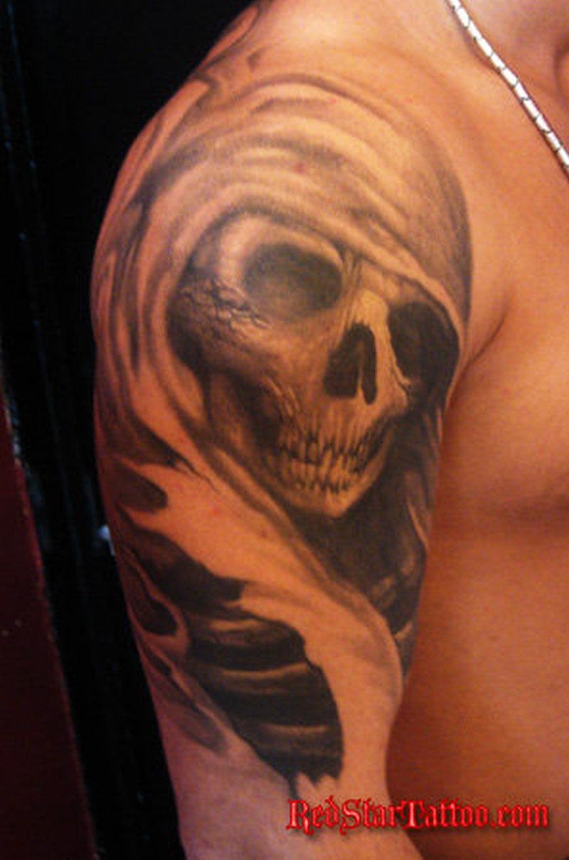 Half sleeve grim reaper tattoo design for guys