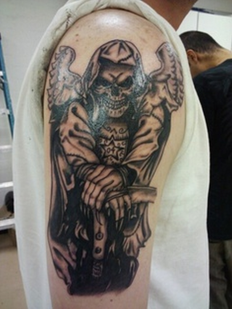 Half sleeve grim reaper tattoo design for men