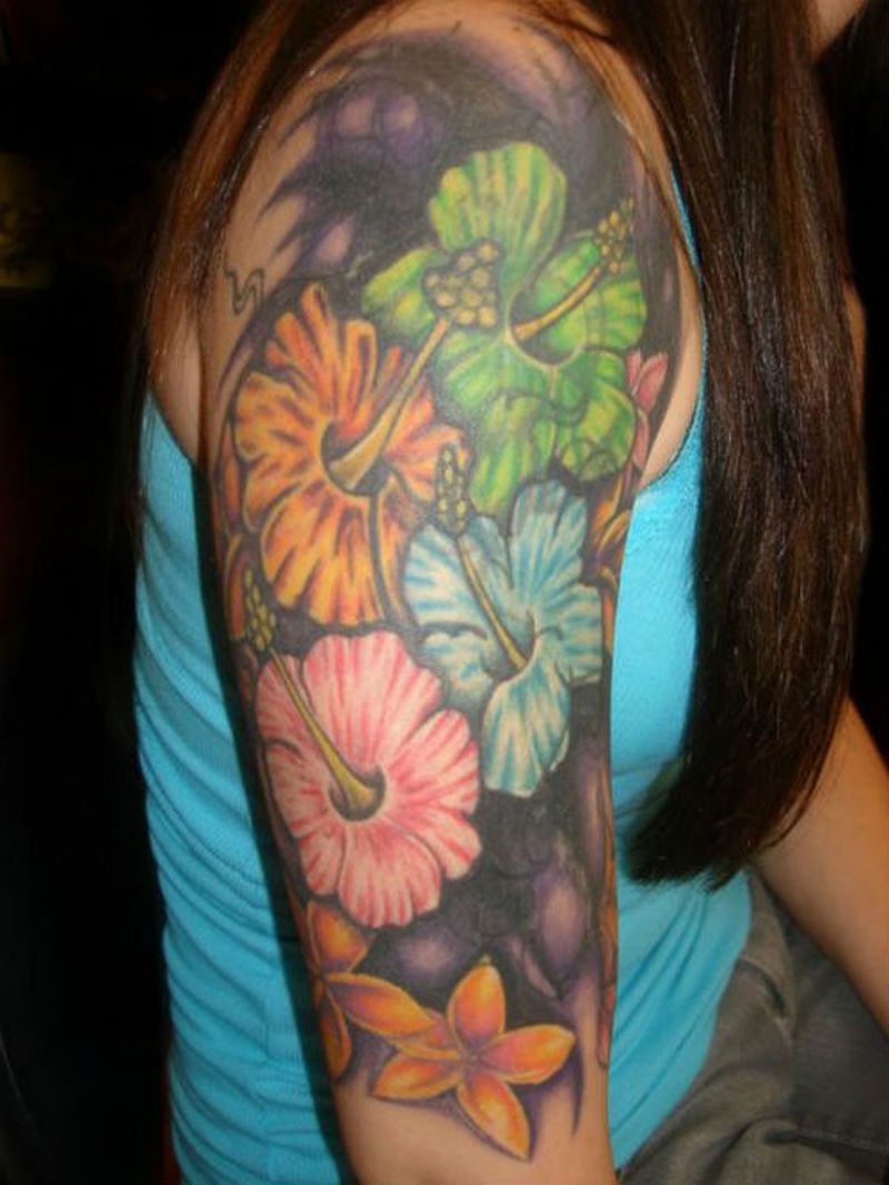 Half sleeve hawaiian flowers tattoo for girls tattoos for Hawaiian tattoos for females