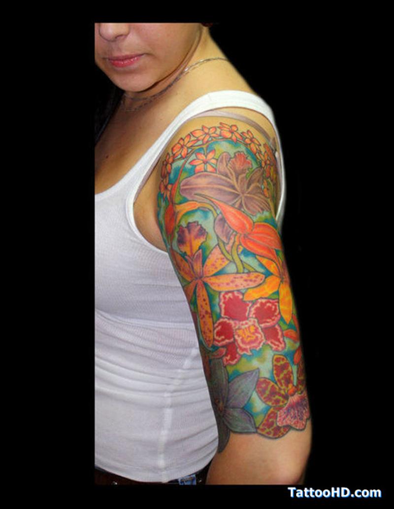 Half sleeve hawaiian orchid tattoo for women