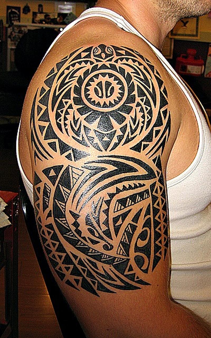 Half sleeve hawaiian tattoo design for men 2