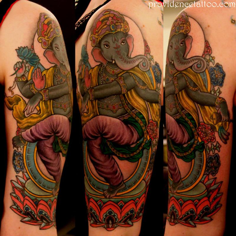 Half sleeve hinduism tattoo design