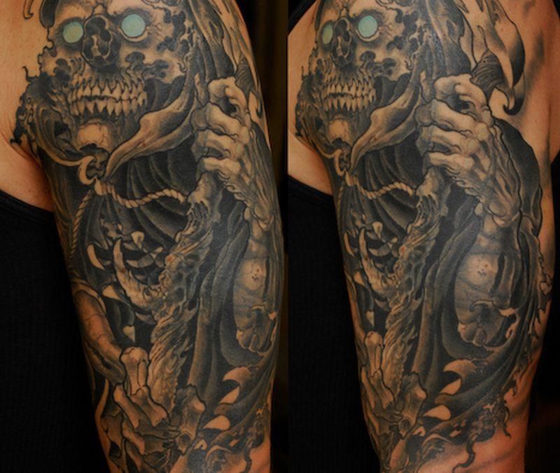 Half sleeve horror grim reaper tattoo design
