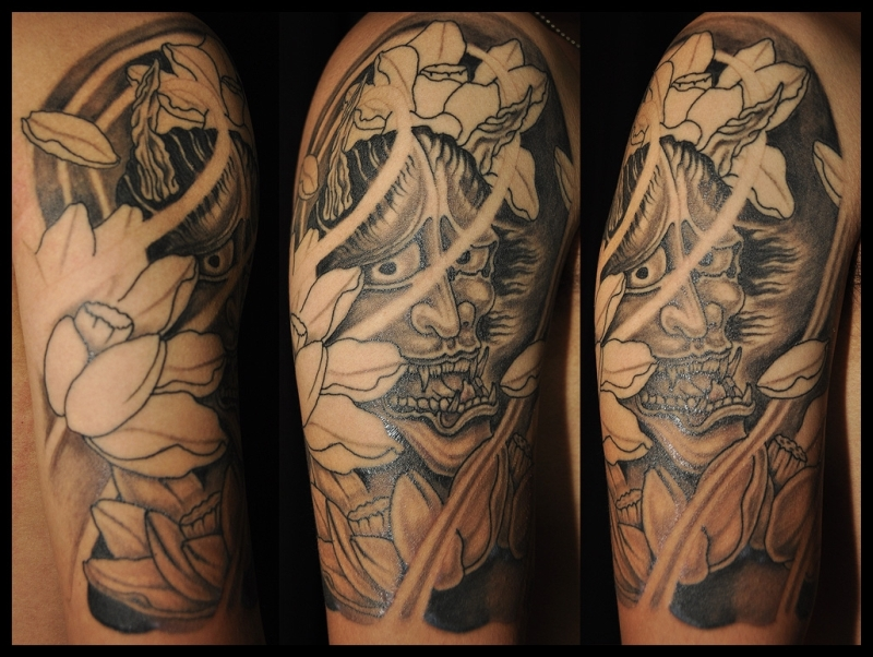Half sleeve japanese demon tattoo design 2 tattoos book for Demon half sleeve tattoos